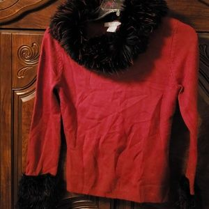 Faux Fur Collar Sweater Size S